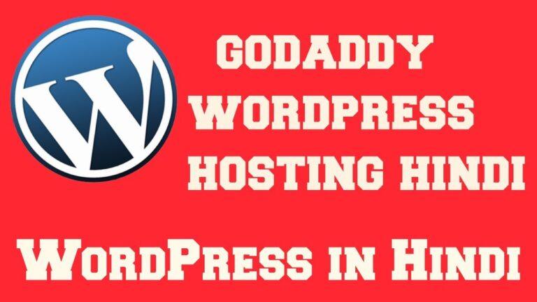 WordPress in Hindi |  godaddy wordpress hosting hindi
