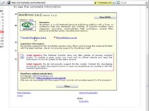 Free WordPress hosting at FreeHostia