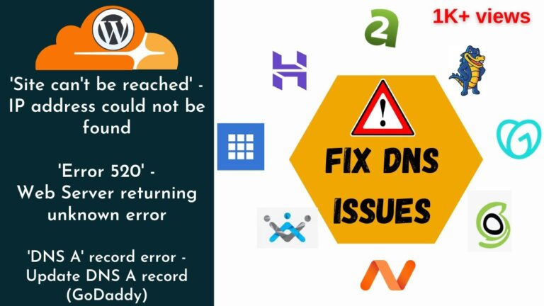 How to fix DNS errors in WordPress hosting |  AZ Blog Series |  CloudFlare |  GoDaddy |  2020 guide