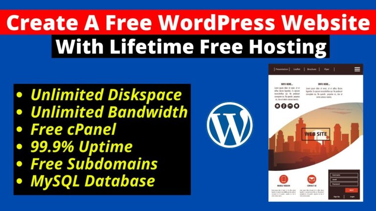 How to Create a Free WordPress Website with Free Hosting in 2021 |  Free hosting for life ProFreeHost