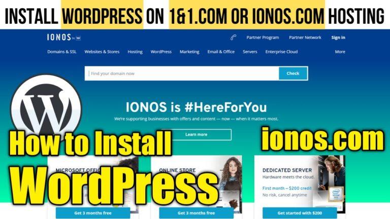 How to install WordPress on Hosting 1 & 1.com or ionos.com |  Configuration of hosting and domain 1and1